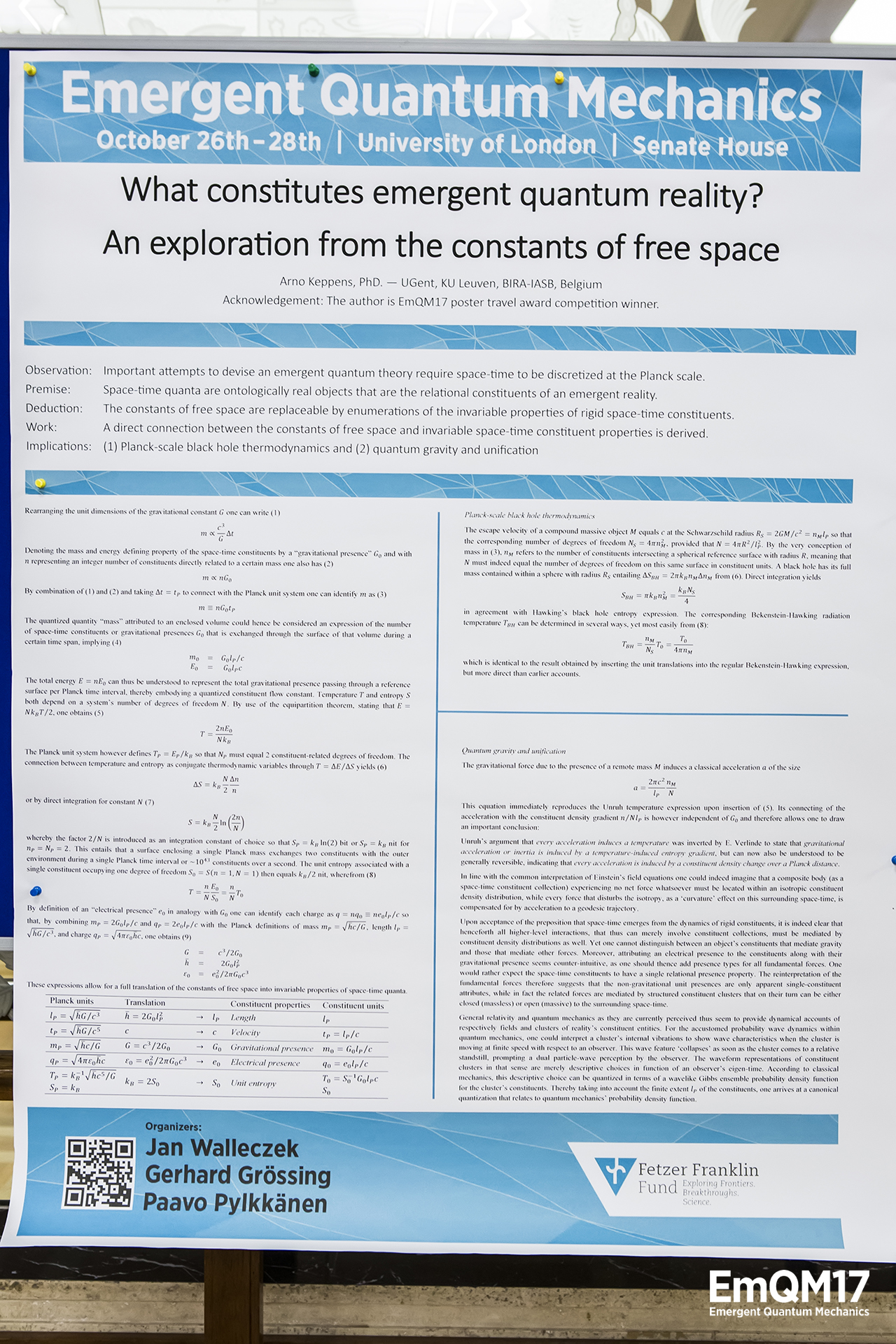 EmQM17-223What constitutes emergent quantum reality? An exploration from the constants of free space by Arno Keppens
